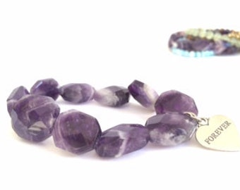 Purple Amethyst Gem Stretch Bracelet With Heart Charm FOREVER