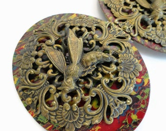 Victorian Fancy Buckle with Brass Wasps - Large and Rare Vintage 1800s Statement Piece