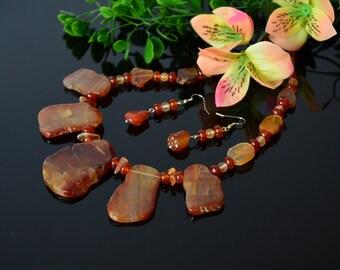 Carnelian Necklace Gemstone Statement bib Necklace for Women jewelry Birthday gift Raw Edged Jewelry Carnelian Slabs Orange Stone Necklace