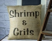 Burlap Pillow Cover Southern Style Pillow Shrimp and Grits Decorator Pillow Rustic Decor
