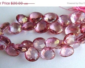 35% OFF Pink Topaz faceted heart briolette
