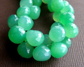 35% OFF Chrysoprase Chalcedony faceted teardrop briolette