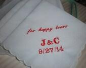 Happy tears hankies. set of 2. Bridal Wedding. Gift Mother of Bride Groom