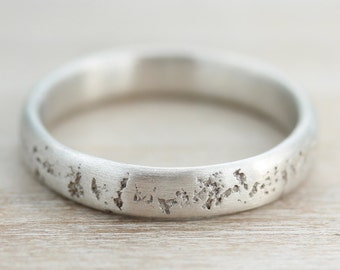 4mm Concrete Sterling Palladium Silver Ring - Cement Textured Wedding Band - Rustic Wedding Band - Primitive Wedding Ring