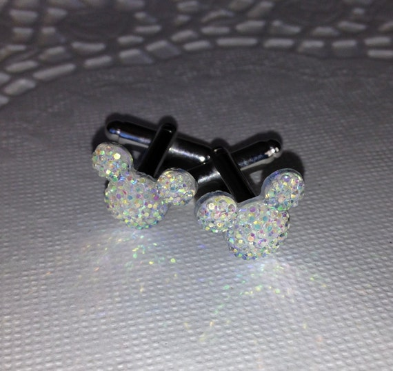 MOUSE EARS Cufflinks for Disney Themed Wedding Party in Dazzling Clear Ab Acrylic Gift Box Included for FREE