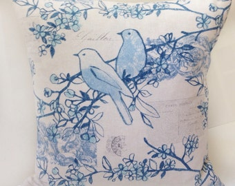 Blue Pillow Cover Bird Pillow Throw Pillow Decorative Pillow Postcard Script Cushion Accent Pillow