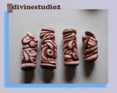 3 dread beads hair beads, handmade faux bone in filigree style, one of a kind, polymer, unisex
