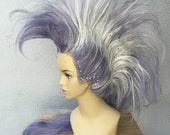 Purple and White Mohawk Adult Costume Wig with Swarovski Crystals