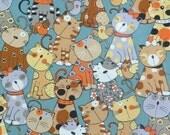 2552B - Lovely Cat and Chick Fabric in Dark Lake Green, Kawaii Fabric, Cute Animal Fabric, Adorable Cat Fabric