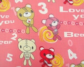 2606A - Adorable Bear Fabric in Light Coral , Bear , Letter , Flower , Cypher