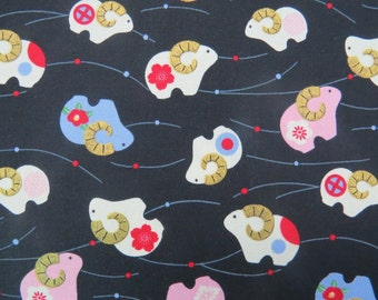 2559C - Sheep with Gold Horn Print Fabric in Black , Japanese Cotton Fabric, Kimono Fabric, Zodiac Sheep Fabric, Animal Fabric