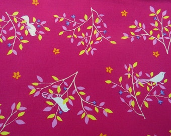 2604A - Lovely Bird in Tree Fabric in Jazzberry Jam , Bird Fabric , Tree Fabric