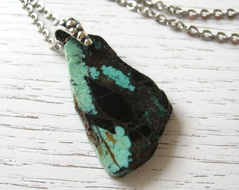 SALE - Natural Seafoam and Black Brown Tibetan Turquoise Pendant Necklace