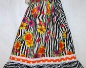 Girls Dress 6 to 7 Zebra Animal Flower Print Boutique Pillowcase Dress