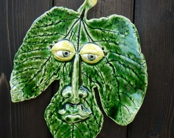 Fig Leaf Ceramic Mask-Green Leaf mask-Garden decor