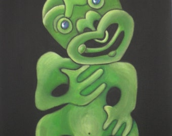 "Tiki II Manaia NZ Maori Carving Aotearoa New Zealand - 6"" x 8"" Print of my Original Painting"
