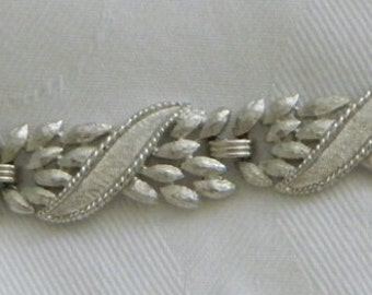 Vintage Crown Trifari Silver Tone Textured Bracelet Signed