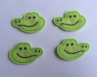 Green Alligator Gators Animals Embroidered Felt Applique