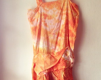 Flapper Dress 1920's. Upcycled Hand Dyed Flapper Style Dress. Eco Friendly Tank Dress. Eco Friendly. Upcycled Clothing. Orange Dress