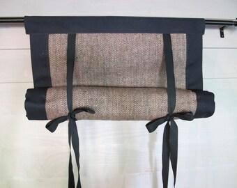 "Burlap Roll Up 36"" Long Window Shade Tie Up Curtain Mitered Banding Tie Up Herringbone"
