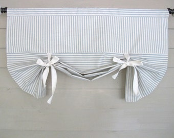 Slate Blue Ticking Window Valance Drop Shade with Ties Tie Up Curtain