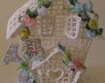 Incredibly unique vintage decorative birdhouse handmade from crochet - I've never seen a piece like this before - take a look
