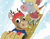 Mouse and Deer - Sledding