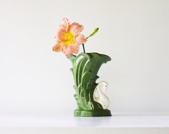 Vintage Swan Vase - Mid Century - Green - Flowers - Garden - Home Decor - Signed