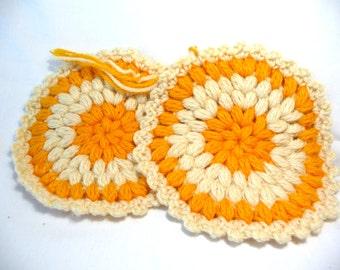 Pot Holders, Crochet Pot Holders, Orange Beige, Kitchen Accessories, Serving Mats, Set of Two, Hot Plate Mats, Handmade Mats, Hot Mats,Retro