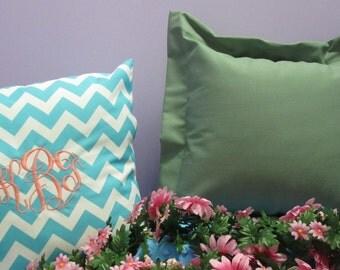 Monogrammed Handmade Sage Green Pillow Cover
