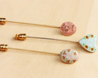 Stickpin Set Enamel, Painted Stickpin, Enamel Stickpin, Vintage Stickpin, Heart Stickpin, Stick Pin, Gold Stickpin, Brooch, Flower Pin, Pin
