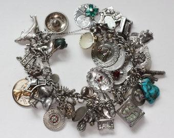 Souvenir Sterling Charm Bracelet 47 Charms Las Vegas Gambling Travel Birthday 1970s