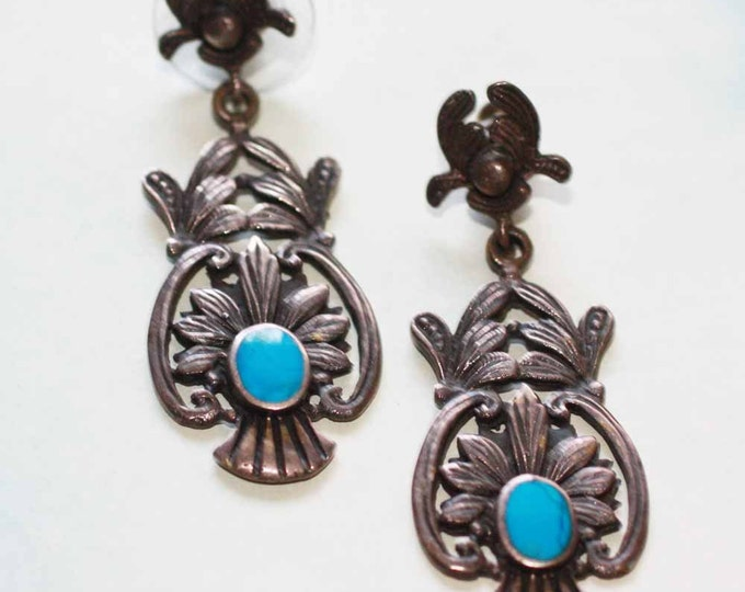 Sterling and Turquoise Dangle Earrings Posts Signed BOMA