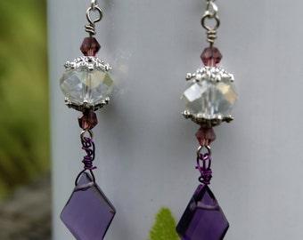 Amethyst Twilight Crystal Earrings