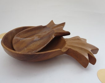 Vintage Wooden Pineapple Bowls - Hand carved wooden pineapple shaped bowls made in Philippines