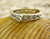 Diamond Engagement Ring in Two-Tone 14K White & 14K Yellow Gold with Scroll Work Size 5/3.5mm