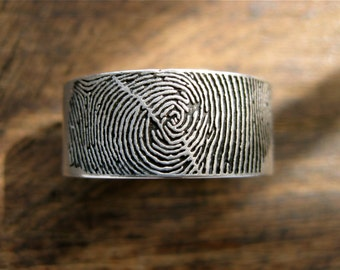 Finger Print Wedding Band in Sterling Silver with Flat Ring Profile Text Engraving and Satin Finish with Blackening Size 8