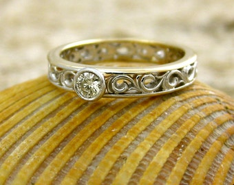 Diamond Engagement Ring in Two-Tone 14K White & 14K Yellow Gold with Scroll Work Size 5