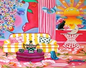Art Print of Still Life Interior Whimsical Sun Moon Peter Max Inspired Stripes Original Oil Painting \ by k Madison Moore