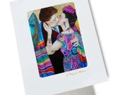 Mexican Handmade Greeting Cards Fine Art Frida Kahlo Diego Rivera from Original Oil Painting Their Kiss by k Madison Moore