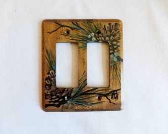 Wood Switch plate  Double GFI  with Pine Cones design