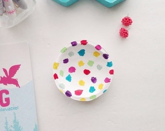Multi Colored Jewelry Dish/Colorful Jewelry Dish/Polka Dot Jewelry Dish/Rainbow Jewelry Dish