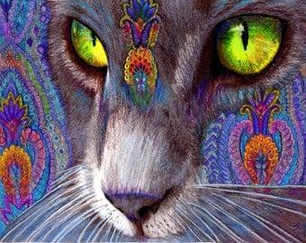 original art  drawing matted 16x20 green cat eye colorful zentangle