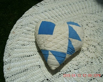 Vintage Hand Made Quilt Heart Pillow Shabby Cottage Charm*Romantic Home*