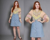 70s Levi's JEAN SKIRT / 1970s Boho High Waisted Chambray A-Line Skirt