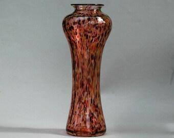 Tall Blown Glass Vase, Warm Multicolored Art or Flower Vase