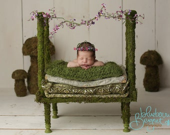 Photo prop, baby bed, Dreamy Moss Fairy Baby Bed Prop