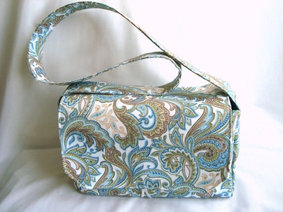 Super Size Coupon Organizer Box Holder -With Strap - Attaches to Your Shopping Cart / PRETTY GREEN PAISLEY