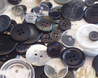 100 Assorted Black, White, and Gray Buttons // Button Destash Mix // Instant Button Collection