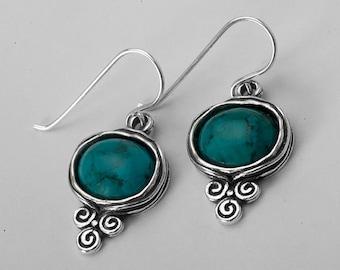 Silver turquoise earrings / earrings for women / dangle earrings / earrings etsy